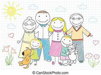 Happy family - mother, father, son, daughter, grandmother, grandfather