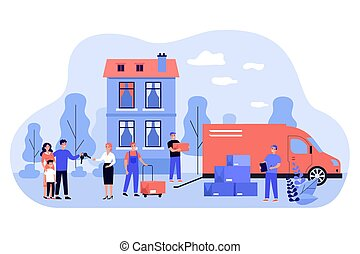 Happy family moving into new house flat vector illustration