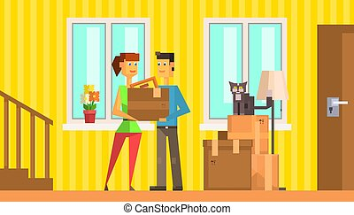 Happy Family Moving to New House or Apartment, Man and Woman Carrying their Stuff in Cardboard Boxes Vector Illustration