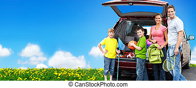 Happy family near new car. Camping concept background.