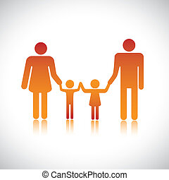 Happy family of father, mother, daughter & son together. The colorful graphic contains parents and their children holding hands together forming a nuclear family.