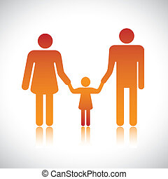 Happy family of father, mother & daughter together. The colorful graphic contains parents and their child holding hands together forming a nuclear family.