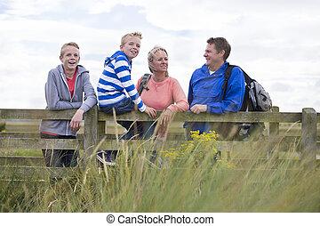 Happy Family Of Four - Happy Family of Four on a bridge....