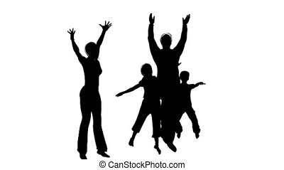 happy family of four silhouette - Happy family of four...