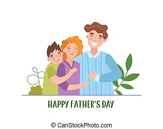 Happy family of three in fathers day illustration