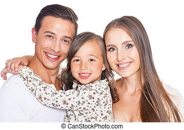 Happy family of three on white