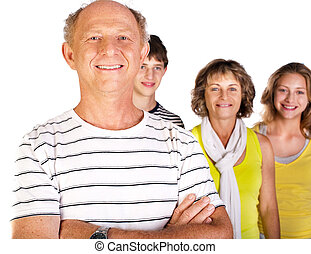 Happy family, old man in focus