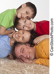 happy family on a carpet