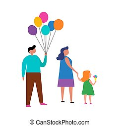 Happy family on a white background. Vector illustration.
