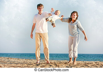 happy family on beach