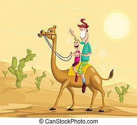 Happy family on camel ride