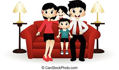 Happy Family On Couch