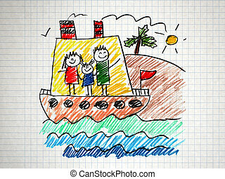 Happy family on cruise trip in ship