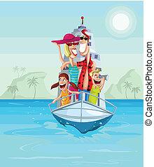 Happy family on cruise