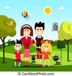 Happy Family on Field with Pets Animals. Vector Flat Design Landscape.
