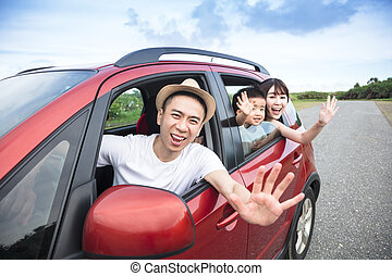 Happy  family on  road trip in the car