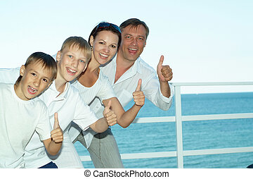 Happy family on ship