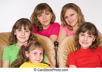happy family on sofa