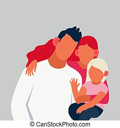 Happy family on the background. Vector illustration