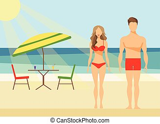 Happy Family on the Beach Man and Woman Swimwear Summer Vacation Flat Vector Illustration