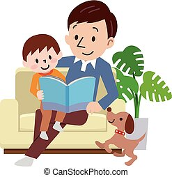 Happy family on the couch read the book together
