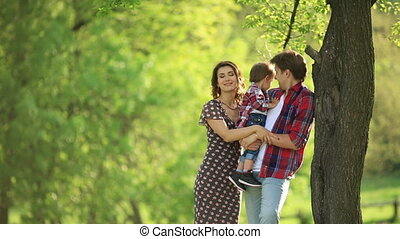 Happy Family on the Nature