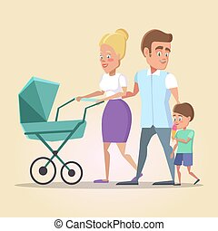Happy Family on the Walk. Mom, Dad and Son with Newborn Baby in a Pram. Vector illustration