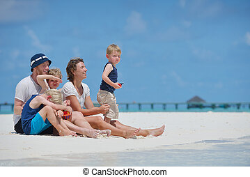 happy family on vacation - Portrait of a happy family on ...