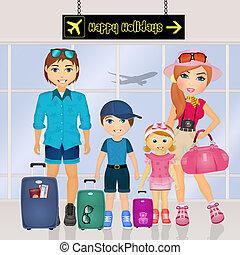 happy family on vacation - illustration of happy family on...