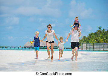 happy family on vacation - Portrait of a happy family on...