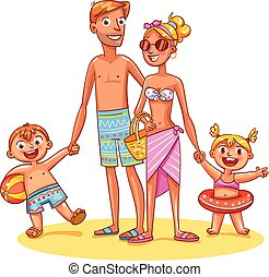 Happy family on vacation. Summer recreation