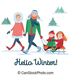 Happy Family on Winter Holidays. Parents with Kids Sledding. Hello Winter Season. Vector illustration