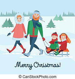 Happy Family on Winter Holidays. Parents with Kids Sledding. Merry Christmas Time. Vector illustration