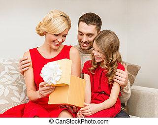 happy family opening gift box