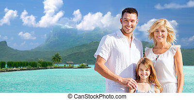 happy family over bora bora background - tourism, travel and...