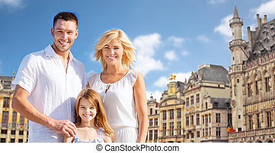 happy family over grand place in brussels city - tourism,...