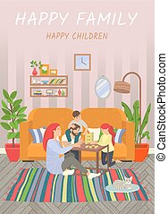 Happy Family, Parents and Children Play at Home