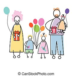 Happy Family Parents Three Children Holding Balloons Presents Holiday Concept