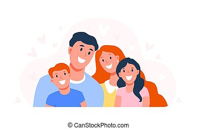 Happy family. Parents with children. Dad, mom and son and daughter are smiling. Happy faces of family members. Flat vector illustration isolated on white background