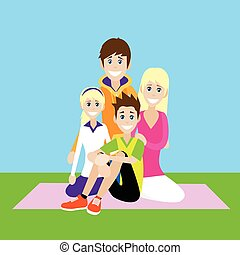 Happy Family, Parents With Children Love Smile
