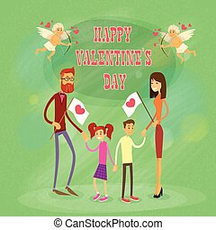 Happy Family, Parents With Two Children Holding Hands Saint Valentine Holiday