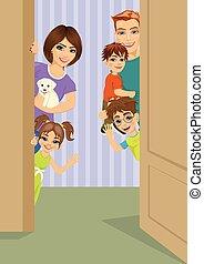 happy family peeking behind door