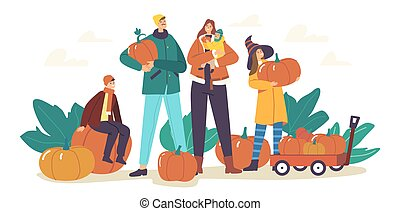 Happy Family Picking Pumpkins at Autumn Garden. Mother, Father and Children Harvesting Ripe Plants for Celebration