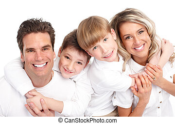 Happy family. Father, mother and children. Over white...