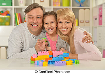 happy family playing at home