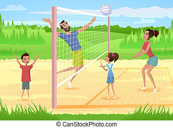 Happy Family Playing Sports in Park Cartoon Vector