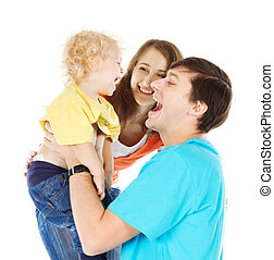 Happy family playing with child raising him up