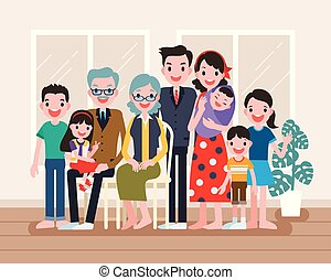 Happy family portrait, big family get together in flat...