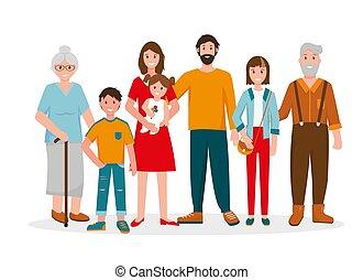 Happy family portrait. Three generation.