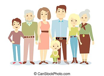 Happy family portrait, vector flat characters